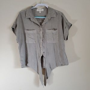 Cloth and Stone Grey Tie Front Top Size Large